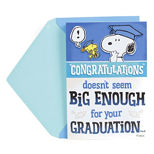 Hallmark Graduation Funny Greeting Card (Peanuts Snoopy and Woodstock, Big Congratulations Fold Out)