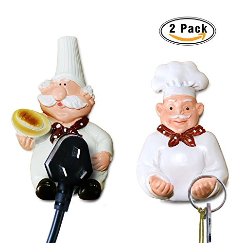 H.YOUNG Pack of 2 Mobile Power Plug Hook Cook Fat Chef Wall Decor Organiser for Home, Kitchen, Garden, Garage Organizing