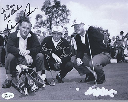 Arnold Palmer Signed Photo - ARNOLD PALMER+GARY PLAYER HAND SIGNED 8x10 PHOTO VERY RARE TO DAVE - JSA Certified - Autographed Golf Photos