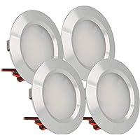 LEDLUX, 4 stuks, mini-led-inbouwspots, rond, smal, 3 W, DC 12 V, 24 V, boring 50 mm, spots voor keuken, badkamer, camper