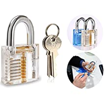 Itian Transparent Pick Practice Padlocks Locks Keyed Clear Padlock - Locksmith Training Lock Picks Picking Tools with 2 Keys