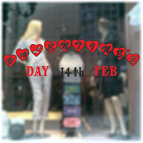 Valentine's Day Window Sticker Display Large Decal Removable 14 Pcs Kit Vinyl Graphics
