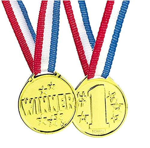 50 Piece Goldtone Plastic Award Winner Medal - BULK