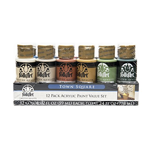 FolkArt 12 Color Paint Set (2-Oz) 5069E Town Square, 2 oz