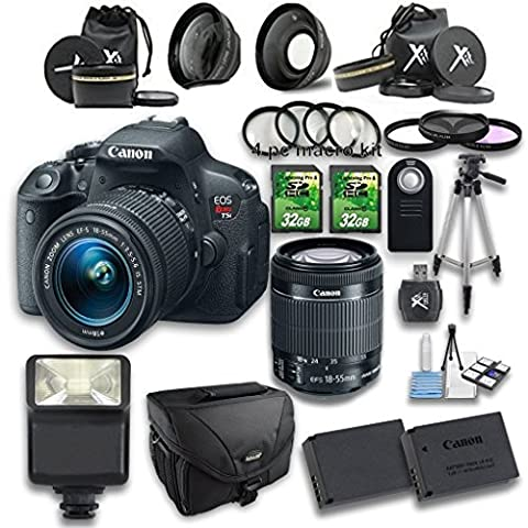 Canon EOS Rebel T5i DSLR Camera + 18-55mm IS STM Lens + Wideangle Lens + Telephoto Lens + 2 PC 32GB Memory Card + 4 PC Macro Bundle + Flash Light + Tripod + Remote Control + (Camera T5i Bundle)