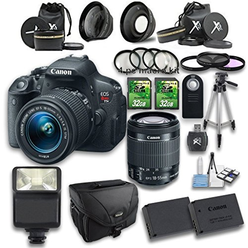 Canon EOS Rebel T5i DSLR Camera + 18-55mm IS STM Lens + Wideangle Lens + Telephoto Lens + 2 PC 32GB Memory Card + 4 PC Macro Bundle + Flash Light + Tripod + Remote Control + Case
