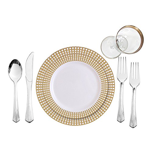 Party Bargains 240 Piece Signature Collection Gold Plastic China Like Plates Silverware Combo for 40 People (80 Signature Collection White Plates with Gold Border)