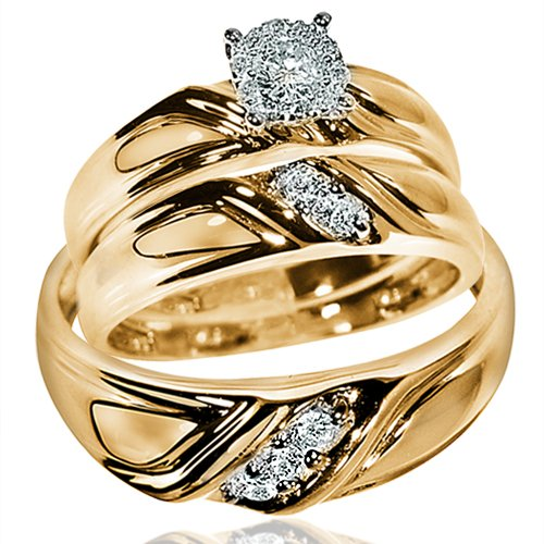 yellow gold wedding rings sets for his and her his wedding rings set 10k yellow gold solitaire 1519