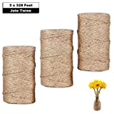 Giveet 984 Feet Natural Jute Twine, Multi-Purpose Premium Jute Twine Arts Crafts Gift Twine Industrial Heavy Duty Packing String for Gifts, DIY Crafts, Festive and Gardening Applications, 3x328 feet