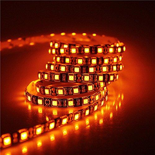 UPC 799619760701, ALITOVE 16.4ft 5050 SMD Black PCB Orange LED Flexible Strip Light lamp 5M 300 LEDs Waterproof IP65 12V DC for home hotels clubs shopping malls cars Lighting