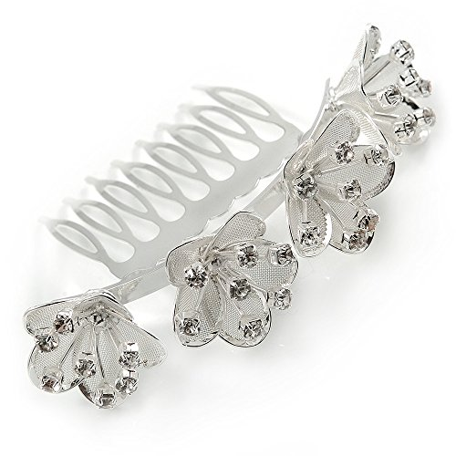 Calla Lilly Bridal/ Wedding/ Prom/ Party Rhodium Plated Clear Austrian Crystal Floral Hair Comb - 85mm