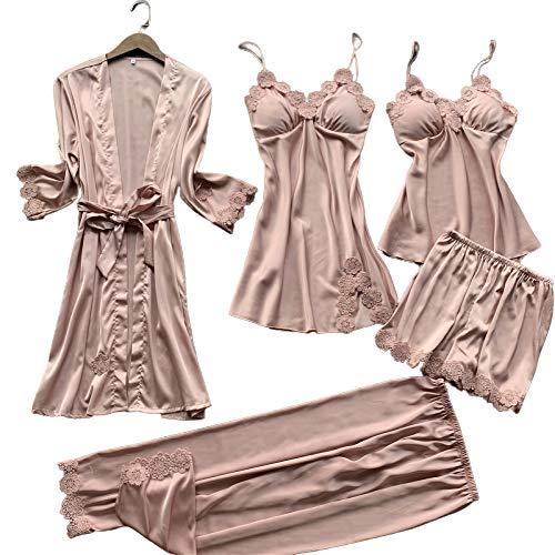 Chongmu Dames Satijn Pyjama 5 Stuks Zijden Thuiskleding Nachtkleding for Vrouwen Robes Shorts Broek Badjas