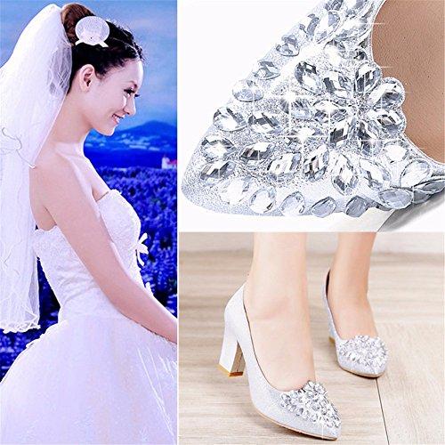 De Chaussures Chaussures Talon Talon Femmes Crystal D'Automne Talons Hauts Chaussures Rugueux Pour La Saison silvery De HXVU56546 Printemps Et En wYxqpz46n1