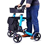 Comfy Go - Transport Compact Folding Lightweight Aluminum Rollator Walker (Blue)