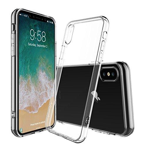iPhone X Hülle [Kabelloses Aufladen Unterstützung], Vinpie Transparent Durchsichtig [Ultra Dünn] Klar Weiche TPU Schutzhülle für Apple iPhone X / iPhone 10 5.8 Zoll 2017 Freigegeben. (01)
