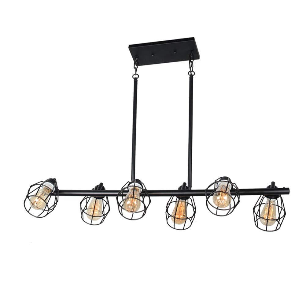 Baiwaiz Black Industrial Linear Chandelier, Metal Wire Cage Pool Table Light Retro Kitchen Island Lighting 6 Lights Edison E26 083