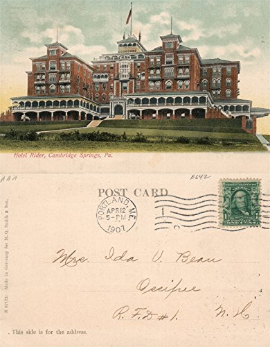 Cambridge Springs Pa Postcard - CAMBRIDGE SPRINGS PA HOTEL RIDER 1907 UNDIVIDED ANTIQUE POSTCARD