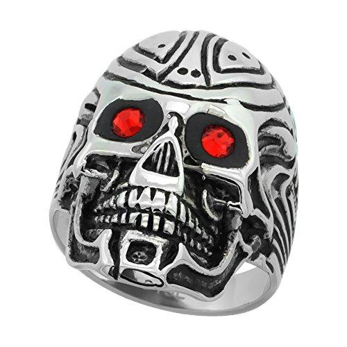 Surgical Steel Biker Ring Cyborg Skull Tribal Tattoos Red CZ Eyes 1 1/8 inch long, size 10 (Cyborg Tattoo)