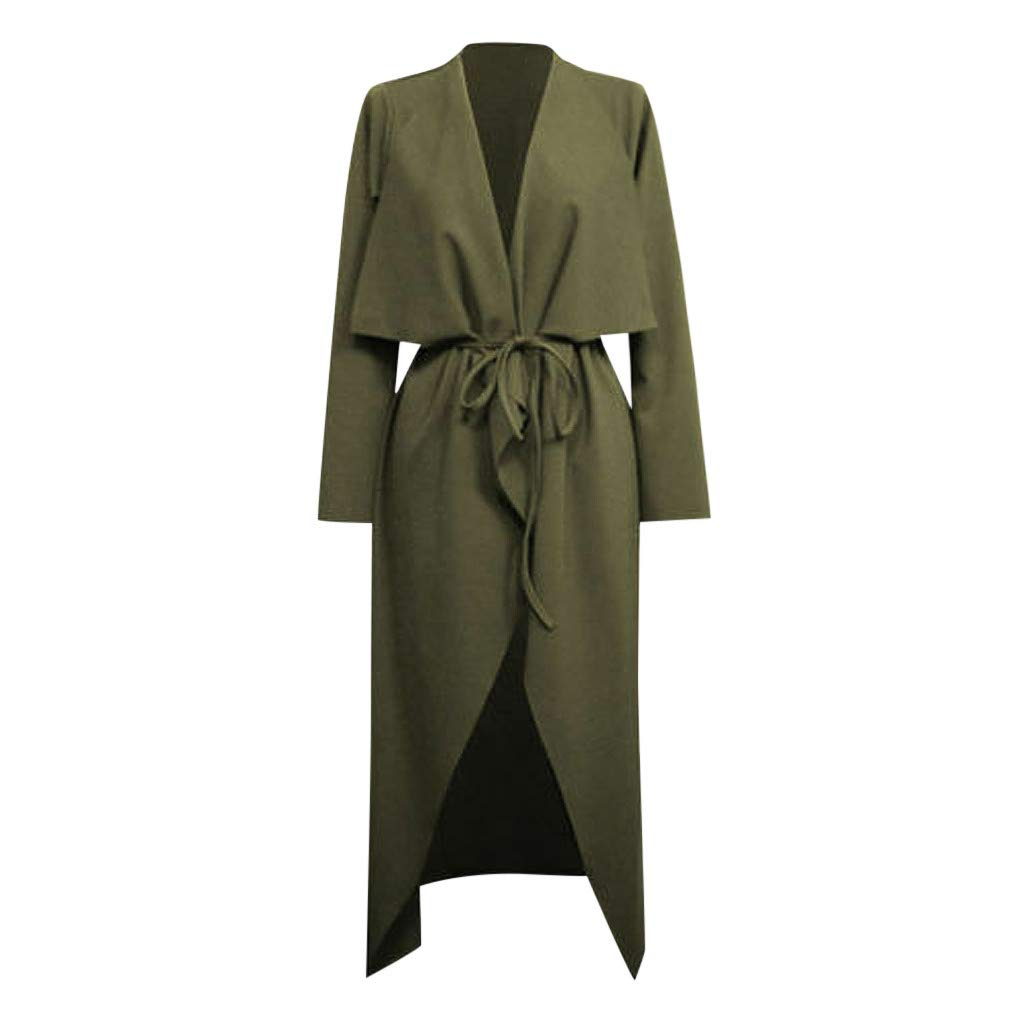 Wenini Womens Ladies Trench Coat Maxi Dress Long Sleeve Waterfall Belted Long Jacket Coat by Wenini Women Coat