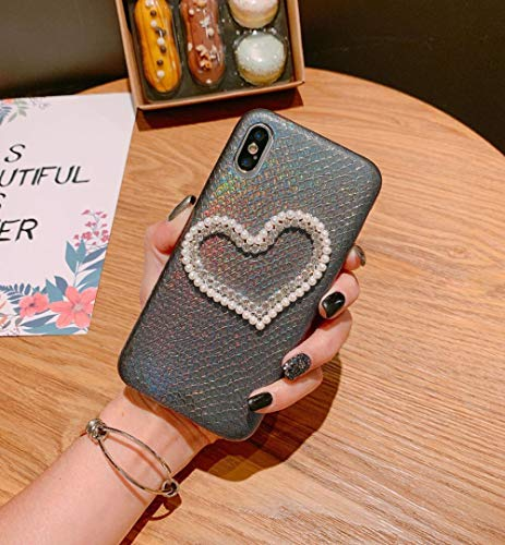 - Losin Diamond Case Compatible with Apple iPhone 7 Case iPhone 8 Case for Girls Luxury Sparkling Crystal Rhinestone Bling Diamond and Pearl 3D Heart Motif Snake Lizard Skin Pattern TPU Cover
