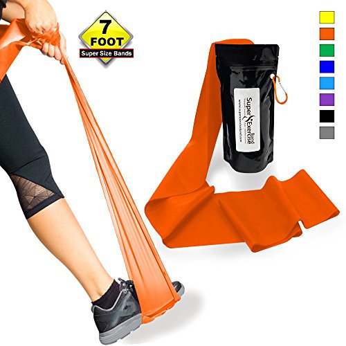 SUPER EXERCISE BAND Light ORANGE Resistance Band. Your Home Gym Fitness Equipment Kit for Strength Training, Physical Therapy, Yoga, Pilates, Chair Workout | LATEX FREE For ALLERGIC SAFETY | 7 ft