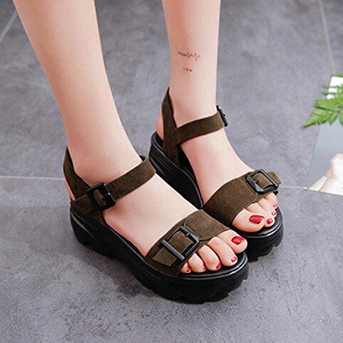 FEITONG Mujer Sandalias antideslizantes Nuevo Piso de verano con sandalias de correa de hebilla Verde