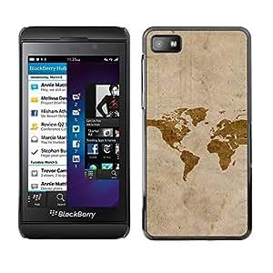 TECHCASE**Cubierta de la caja de protección la piel dura para el ** Blackberry Z10 ** Map Art Watercolor Eart Continents America