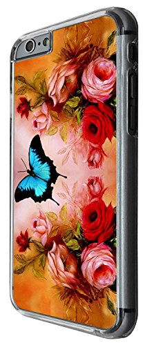 1238 - Cool Fun Trendy cute butterfly roses flowers shabby chic Design iphone 5C Coque Fashion Trend Case Coque Protection Cover plastique et métal - Clear