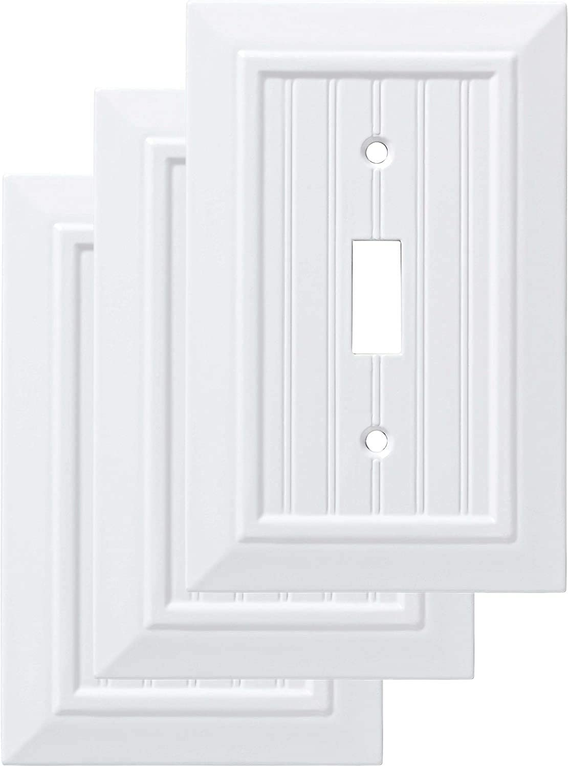 Franklin Brass W35265V-PW-C Classic Beadboard Single Switch Wall Plate/Switch Plate/Cover (3 Pack), Pure White
