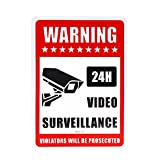 Video Surveillance Sign - Security Alert - 24 Hour Surveilance Trespassers Will Be Prosecuted Sign - Legend Large 14X10 Rectangle Rust Free 40Mil Aluminum Sign