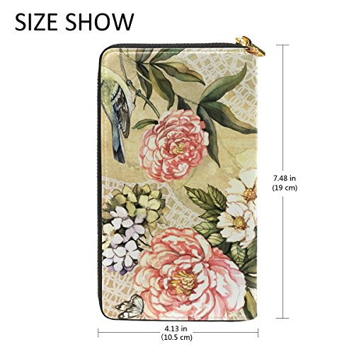 Womens Organizer Watercolor TIZORAX Clutch Handbags Vintage Floral Zip Wallet Purses Around And nqqHxZAtT