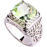 by lucky Green Amethyst White New Fashion Silver Women Men Ring Size 7 8 9 10 (8)