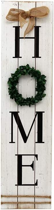 Parisloft Wooden Home Plaque with Green Wreath Large Farmhouse Home Signs Plaque Wall Hanging Housewarming Home Decor for Mantle Living Room.