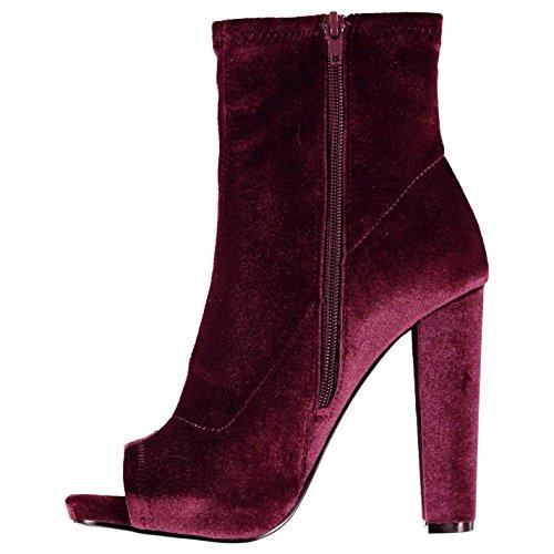 Steve Madden Damen Esspecial Boots Peep Toe Stiefeletten Absatz Stiefel Burgund Samt