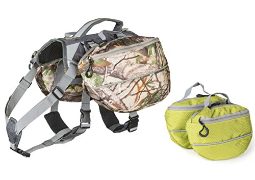 [Dog Backpack for Hiking - Large and Small Saddlebag Sets for Camping or Hunting - Lightweight Harness - Removable Backpacks. Medium-Large Dogs. (Camo and] (Video Of Dog In Costume)