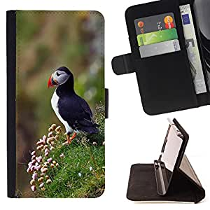 King Air - Premium PU Leather Wallet Case with Card Slots, Cash Compartment and Detachable Wrist Strap FOR Samsung Galaxy S4 Mini i9190 I9192- Bird