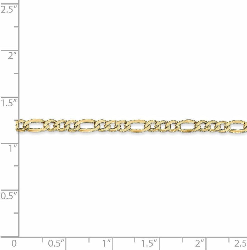14k 3.5mm Semi-Solid Figaro Chain