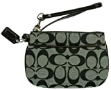 Coach Signature Small Wristlet F45659 (SV/Black White/Black), Bags Central