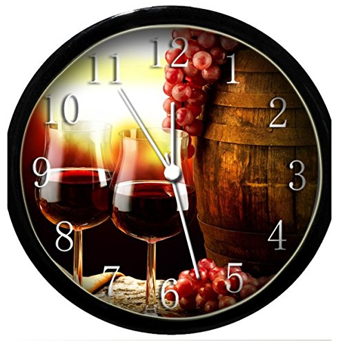 Glow In the Dark Wall Clock - Red Wine & Grapes