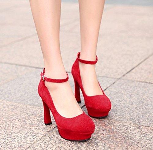 scarpe di trentanove Scarpe Il 11cm fibbia Carriera Alla nozze La Moda impermeabile La tacco rosso Unico Sexy ammen Da Donna Ajunr vino Sandali cinghia piattaforma tacco della di 35 scarpe levigatura CqSS4
