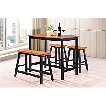 Harperu0026Bright Designs 4 Piece Dining Set Counter Height Rubber Wood Dining  Table With Saddle Stools (oak And Black)