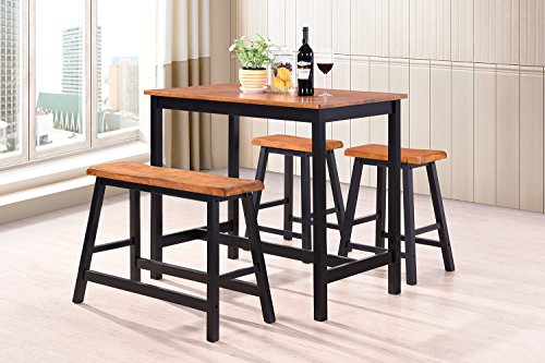 Harper&Bright Designs 4-Piece Dining Set Counter Height Rubber Wood Dining Table with Saddle Stools (oak and black)
