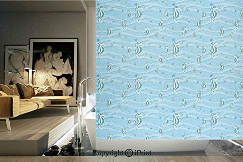 (Ylljy00 Decorative Privacy Window Film/Cartoon Like Seahorses for Kids Nursery Baby Girls Boys Childish Playroom Nautilus/No-Glue Self Static Cling for Home Bedroom Bathroom Kitchen Office Decor Blue)