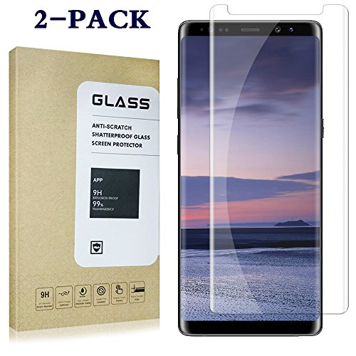 2 pack Galaxy Note 8 Screen Protector, [Anti-Bubble] [9H Hardness][HD Clear][Anti-Scratch] Glass Screen Protector for Samsung Galaxy Note - Glasses Recommended