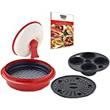 "Range Mate Pro Deluxe Nonstick Microwave 5-in-1 Grill Pot/Pan Cookware Set ""As Seen On TV"" (Grill, Bake, Roast, Saute, Steam, Poach, & One Pot Meals) (Red)"