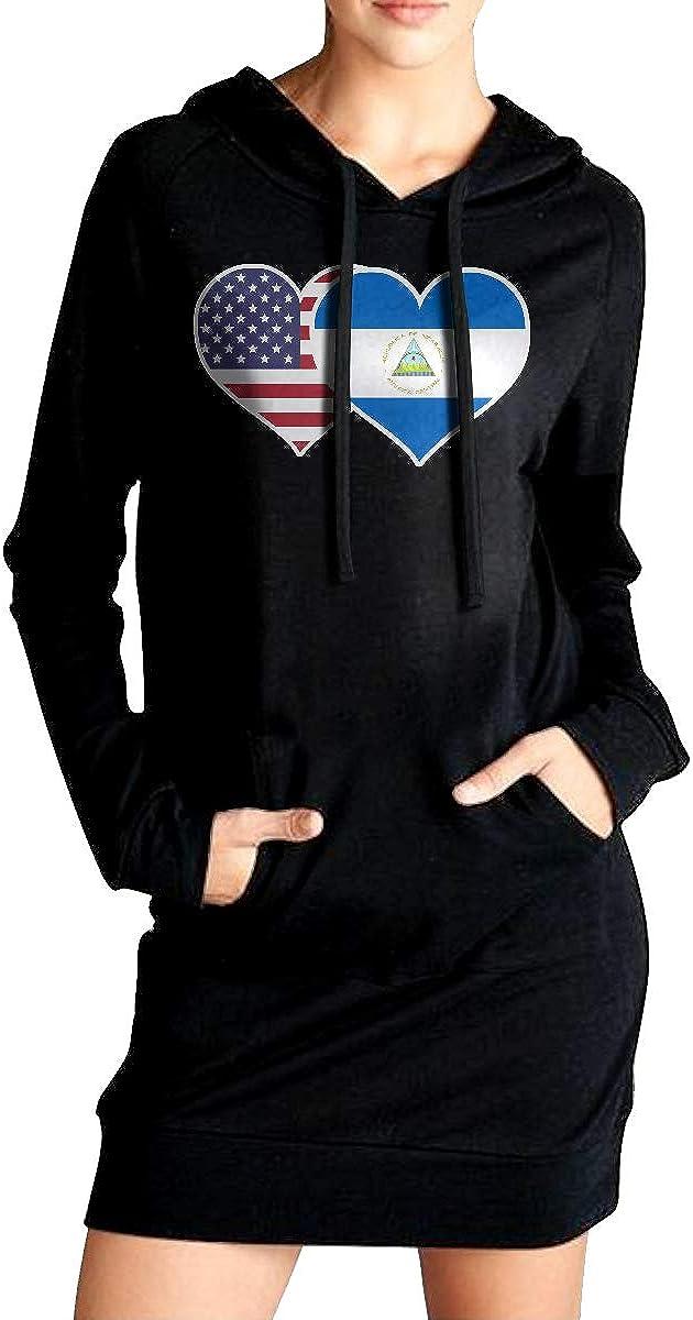 ADA/&KGH Womens Sports Sweatshirt Long Hoodies Dress American Nicaragua Flag Heart Outer Jacket with Pockets