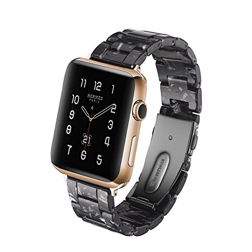 Herbstze for Apple Watch Band 38mm/40mm, Fashion Resin iWatch Band Bracelet with Metal Stainless Steel Buckle for Apple Watch Series 4, Series 3 Series 2 Series 1 (Black, 38mm) - The Fashion Band