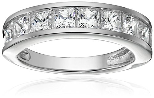 Platinum-Plated Sterling Silver Swarovski Zirconia Princess-Cut Channel-Set Band Ring