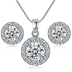 Newtrip New 925 sterling silver Crystal wedding necklace earring jewelry set charm women