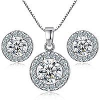 Bonlting Newtrip New 925 sterling silver Crystal wedding necklace earring jewelry set charm women